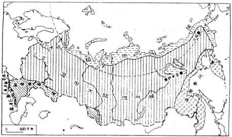 下图是俄罗斯气候类型分布图