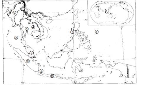 读东南亚地图,完成下列填空